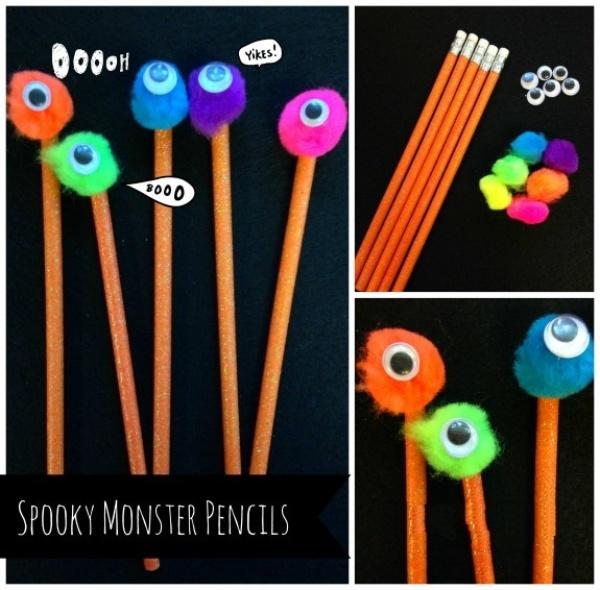 Monster Pencils - Easy DIY Halloween Gifts