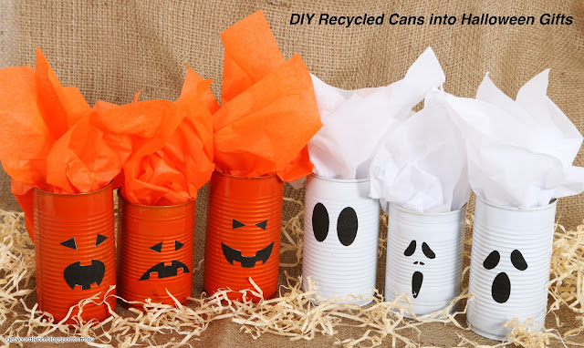 Recycle cans into Halloween Gifts