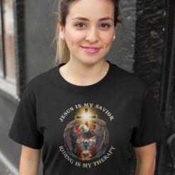 Riding Shirt Jesus Is My Savior Riding Is My Therapy Shirt Eagle