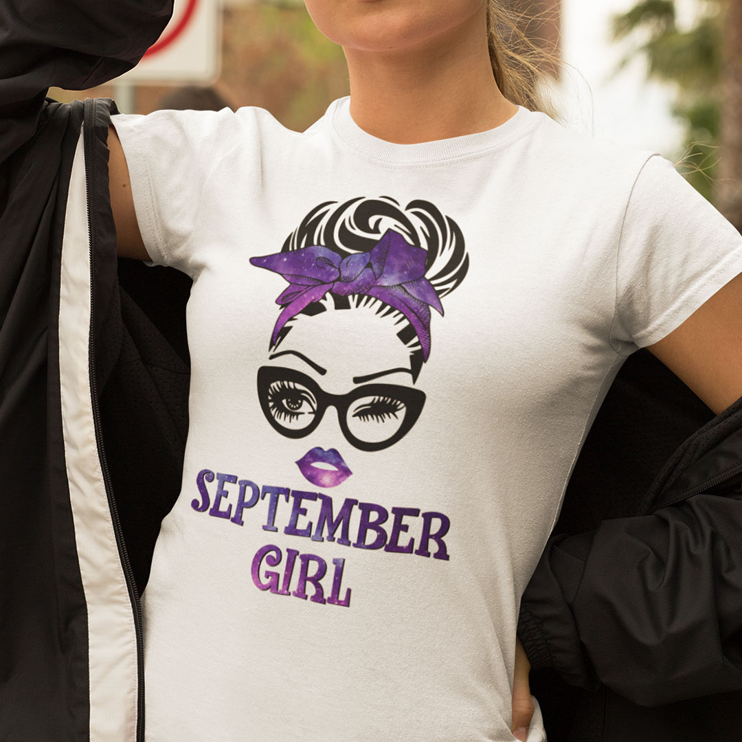 September Birthday Girl T Shirt Black Glasses Purple Headband