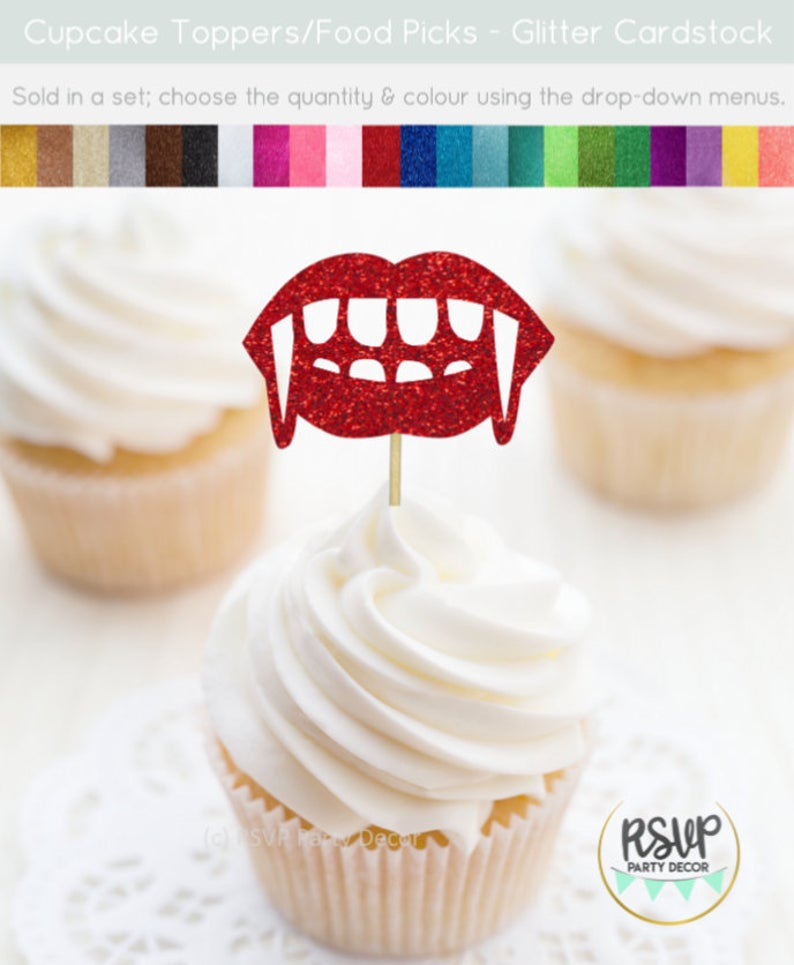 Vampire Fangs Cupcake Toppers- best Halloween gift for dad.