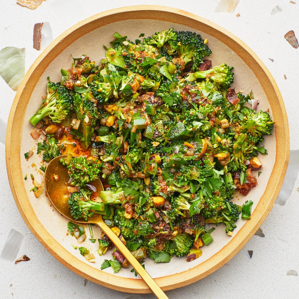 Broccoli Spoon Salad With Warm Vinaigrette- best salad recipes for Thanksgiving dinner