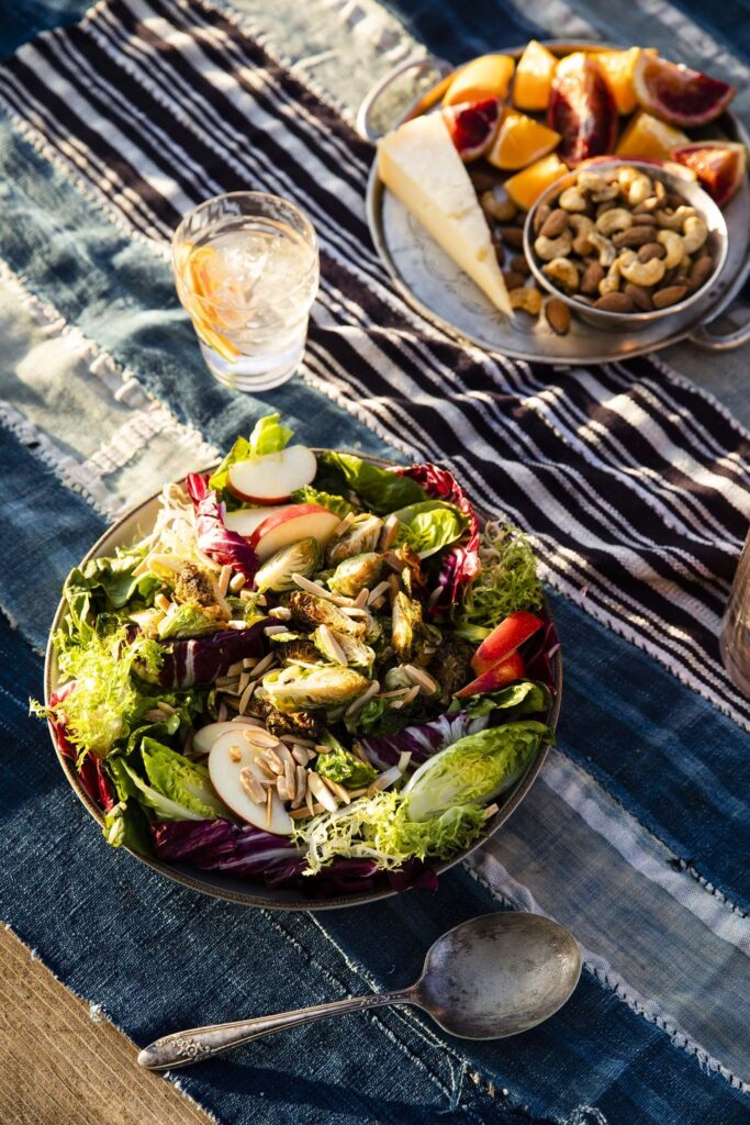Crispy Brussels Sprouts Salad with Citrus-Maple Vinaigrette- best salad recipes for Thanksgiving