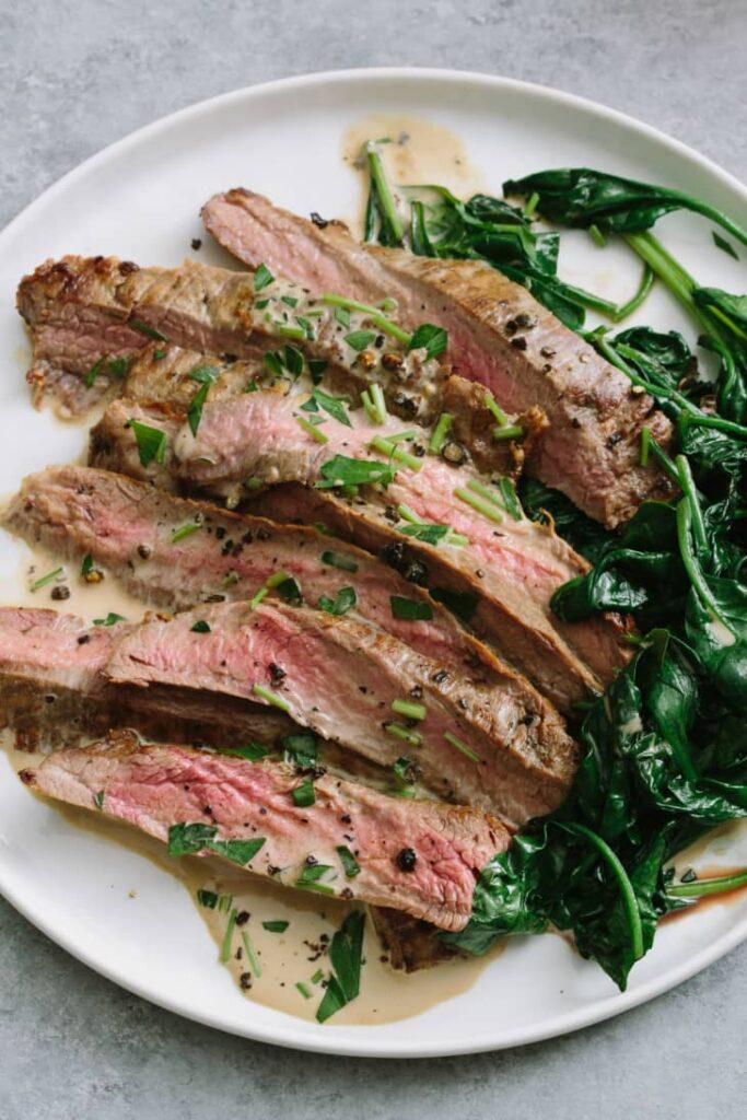 Flank Steak with Bourbon Cream Sauce