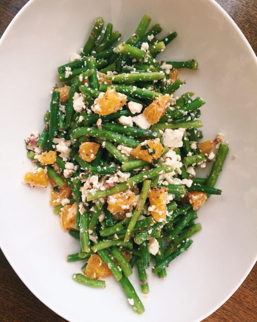 Green Bean Salad with Clementines, Bulgur Wheat, and Feta- best green salad for Thanksgiving