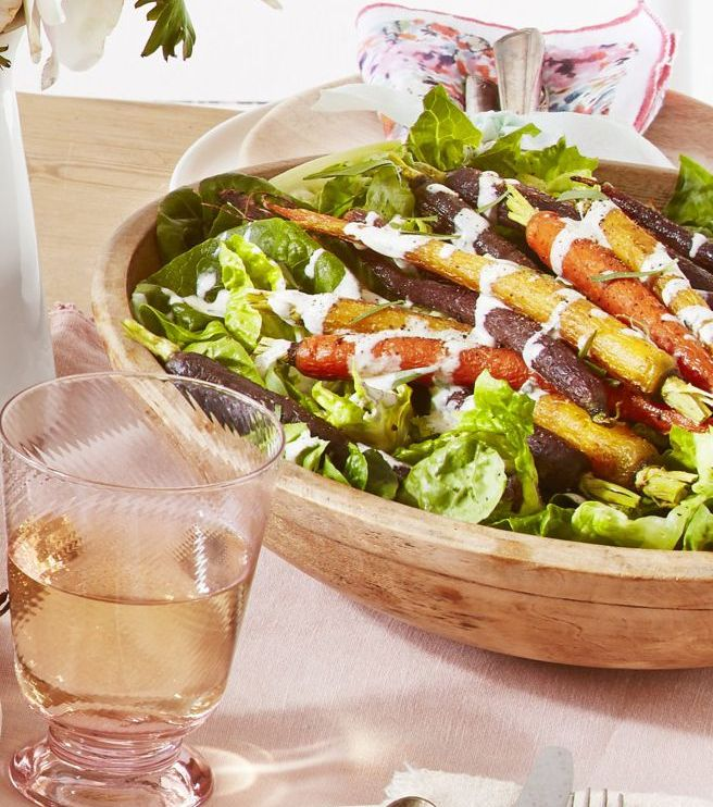 Green Salad With Roasted Carrots and Creamy Tarragon Dressing- best salad recipes for Thanksgiving dinner