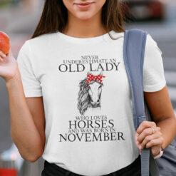 Never Underestimate Old Lady Loves Horses Born In November Shirt