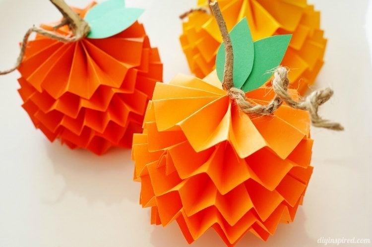Paper Pumpkins- fun Thanksgiving crafts for young children