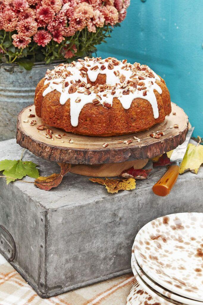 Pecan-Pumpkin Bundt Cake with Cream Cheese Glaze- cool Thanksgiving desserts
