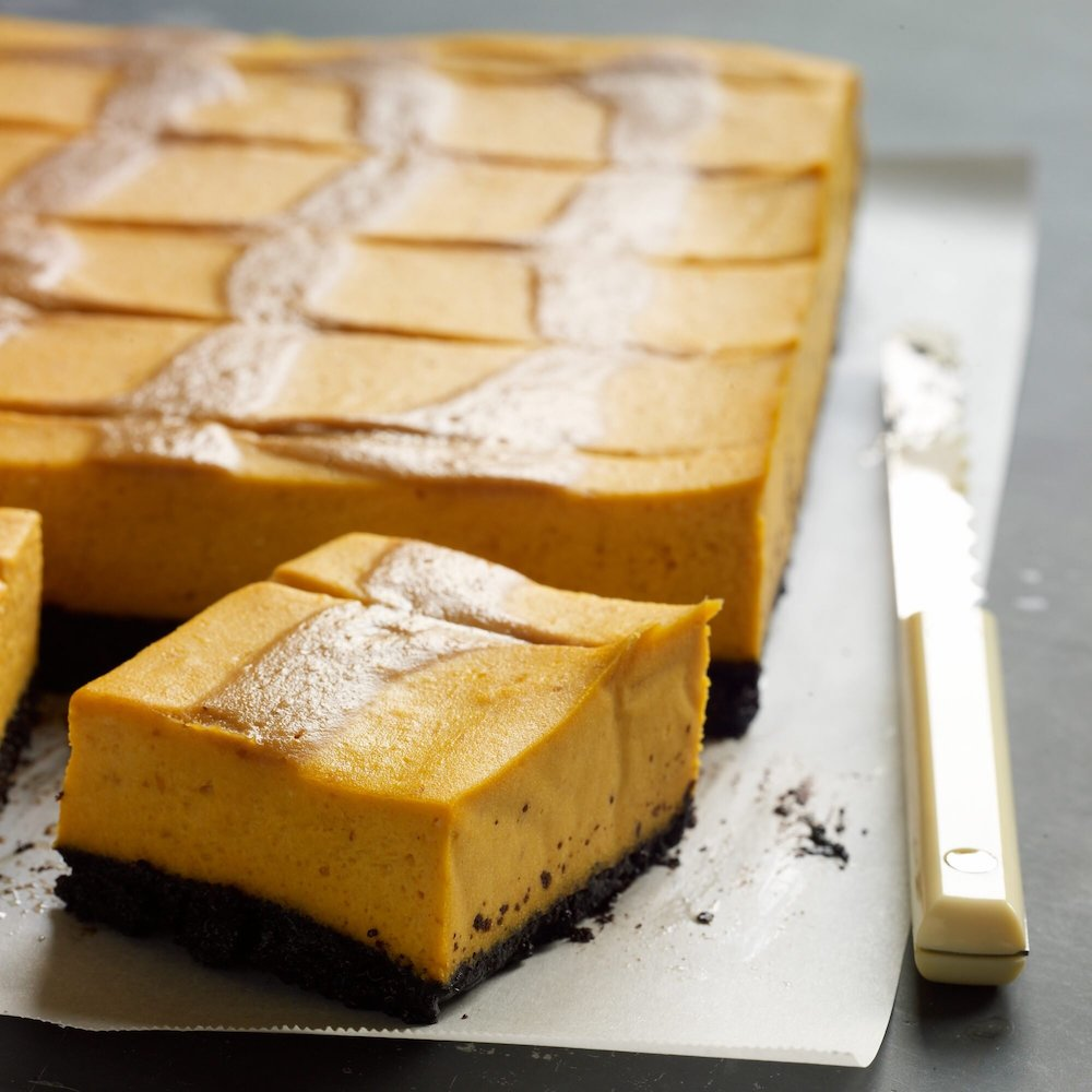 Pumpkin Cheesecake Bar with Caramel Swirl- cool Thanksgiving desserts