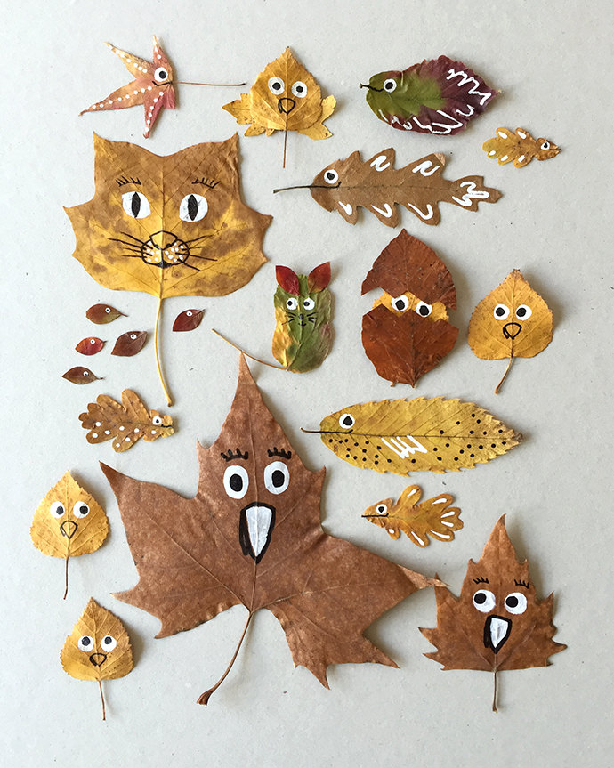 Quirky Leaf Friends- great Thanksgiving crafts for young children