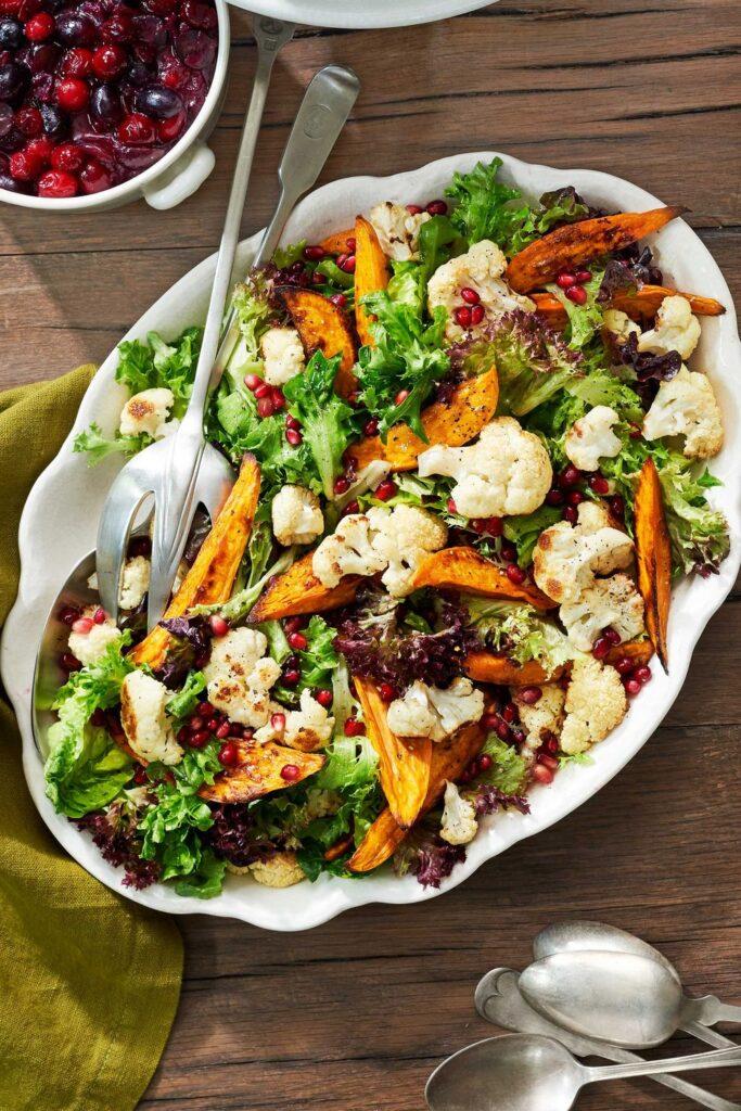 Sweet Potato-and-Cauliflower Salad- best salad recipes for Thanksgiving dinner