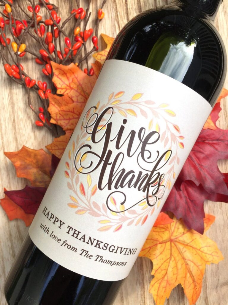 Thanksgiving Wine Label- best hostess gifts for Thanksgiving.