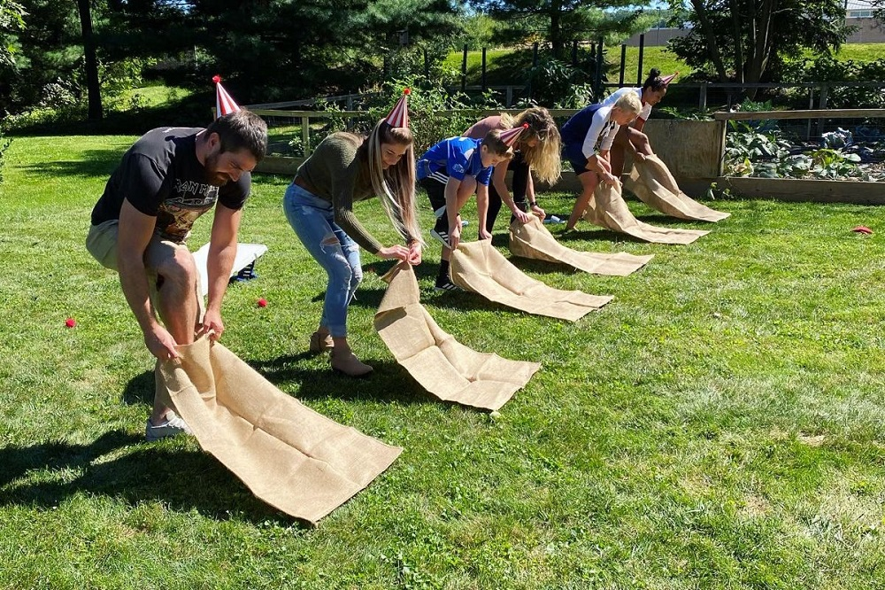Sack race - one of the best Thanksgiving activities for teens