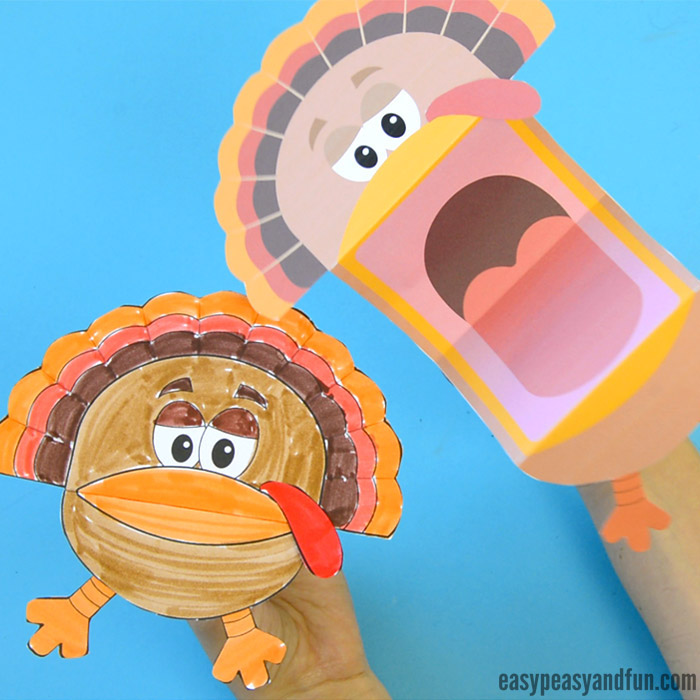Turkey Puppets- cute Thanksgiving crafts for young children