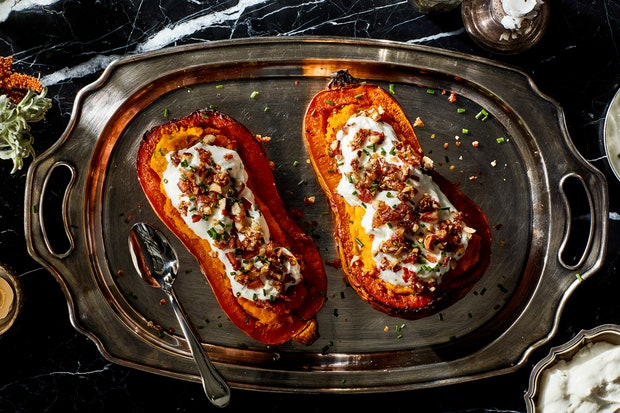 Twice-Baked Butternut Squash With Parmesan Cream and Candied Bacon