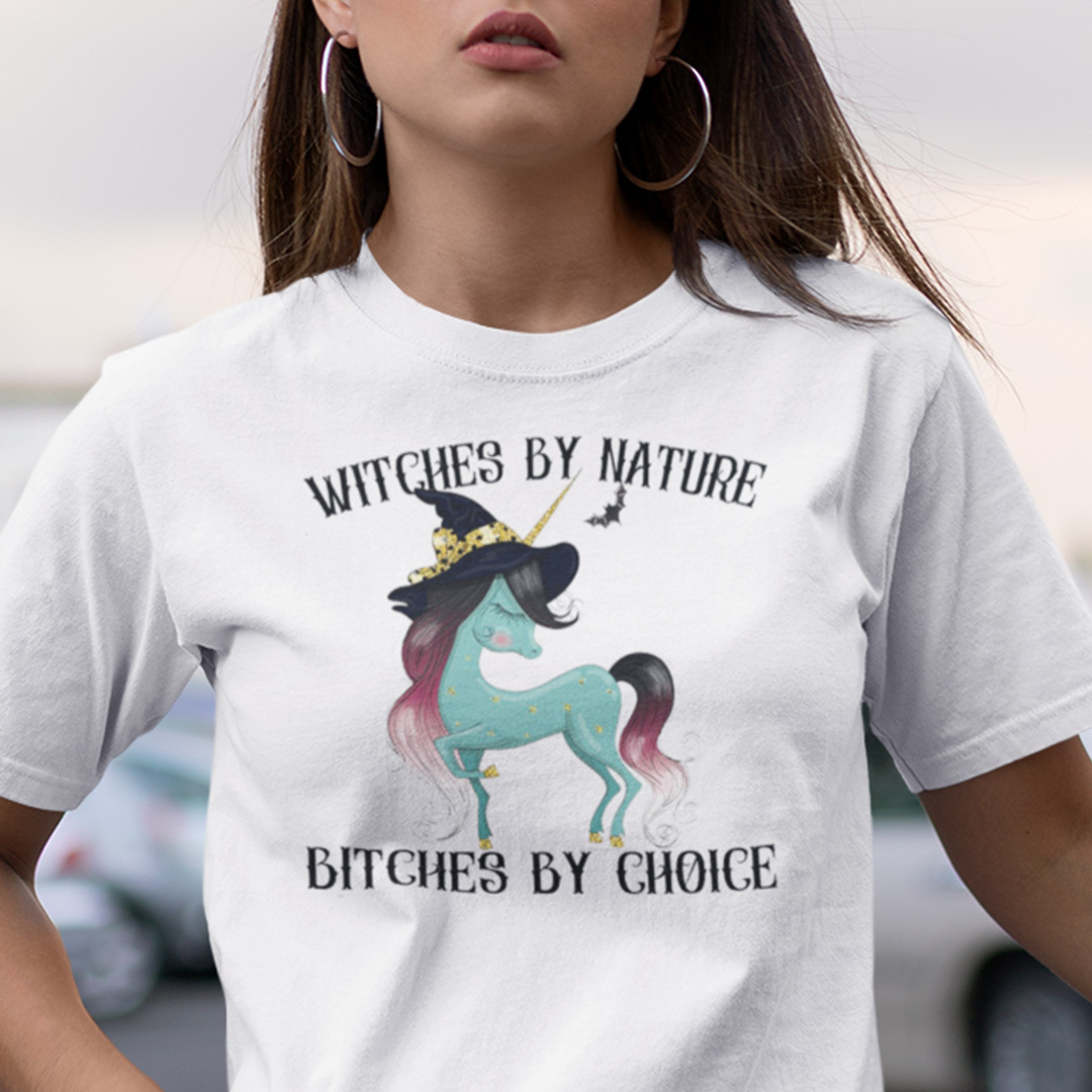 Witches By Nature Bitches By Choice Unicorn Halloween Shirt