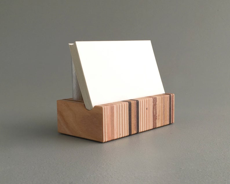 Wood Business Card Holder - Thanksgiving Gift Ideas For Clients