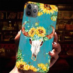 Cow Skull Sunflower Phone Case