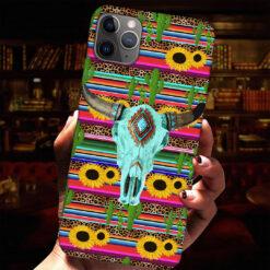 Hippie Buffalo Skull Phone Case Sunflowers Cactus