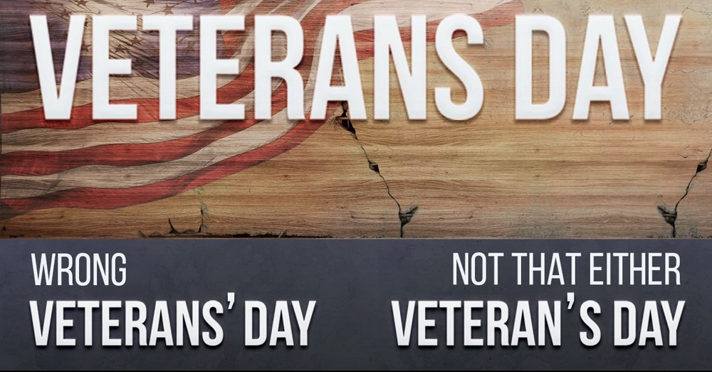 Veterans Day does NOT include an apostrophe