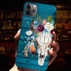 Cow Skull Feather Flowers Phone Case