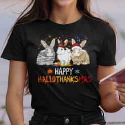 Happy Hallothanksmas Rabbit Shirt Happy Halloween Thanksgiving Christmas
