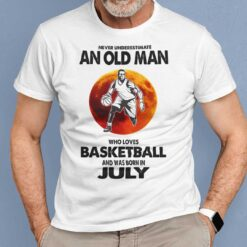 Never Underestimate Old Man Who Loves Basketball Shirt July