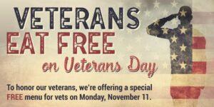 Where do veterans eat free on Veterans Day?