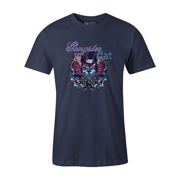 Gangster Cat T shirt heather denim