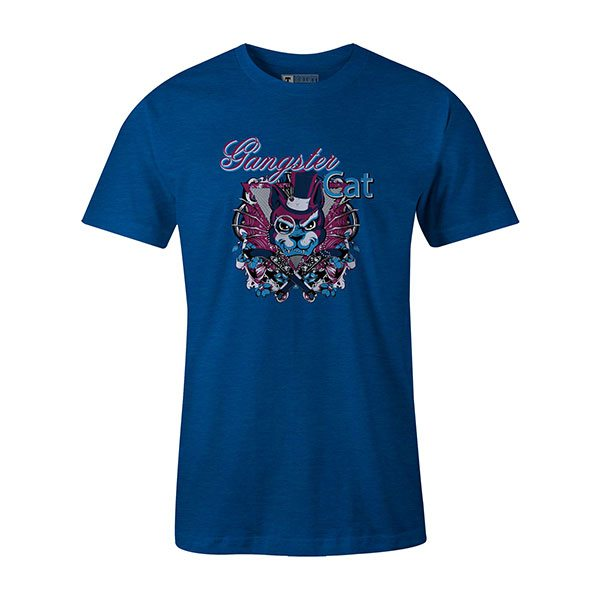 Gangster Cat T shirt heather royal