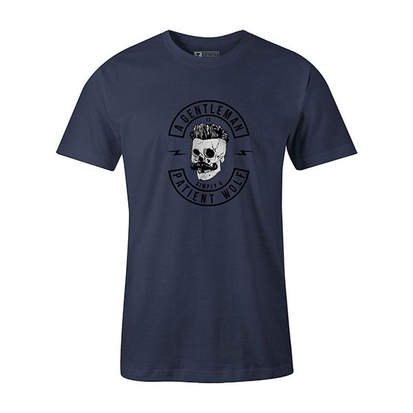 A Gentleman Is Simply A Patient Wolf T shirt heather denim