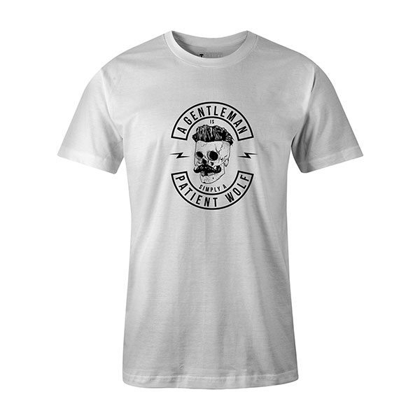 A Gentleman Is Simply A Patient Wolf T shirt white