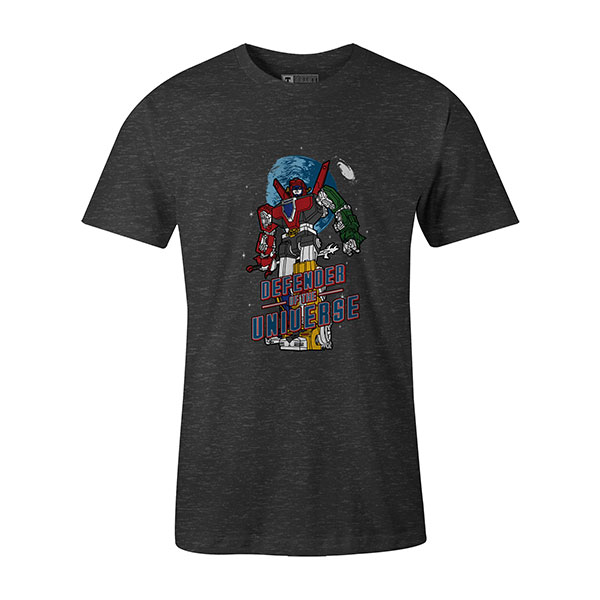Defender of the Universe T shirt heather charcoal