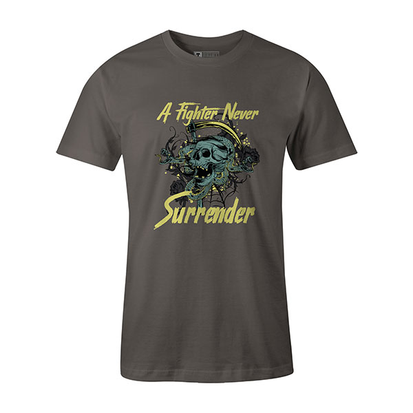 A Fighter Never Surrender T shirt charcoal
