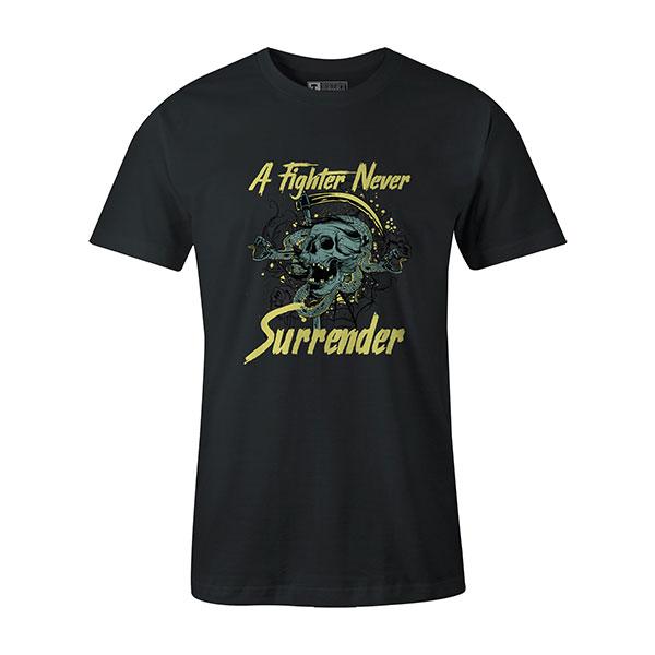 A Fighter Never Surrender T shirt coal