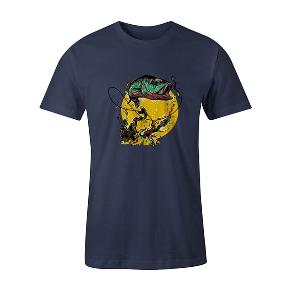 Fly Fishing T shirt heather denim