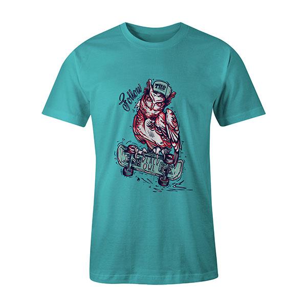 Follow The Black Owl T shirt aqua