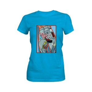 Kiss My Patch T shirt turquoise