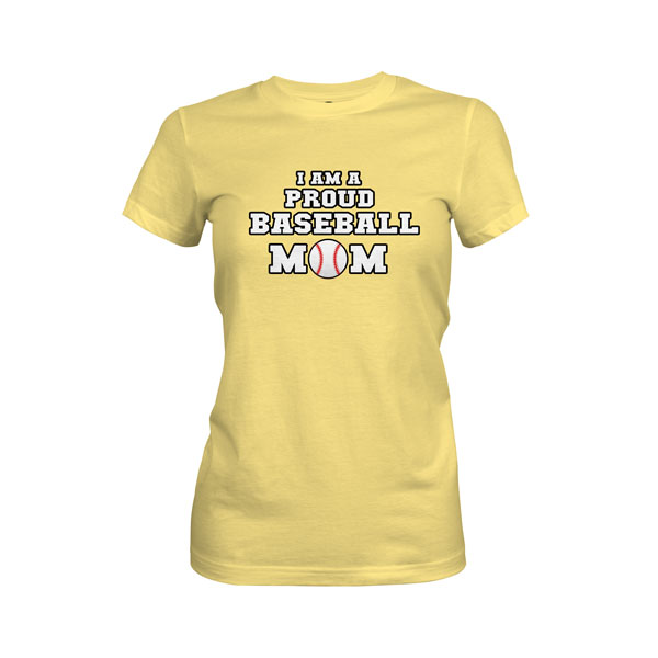Proud Baseball Mom T Shirt Banana Cream