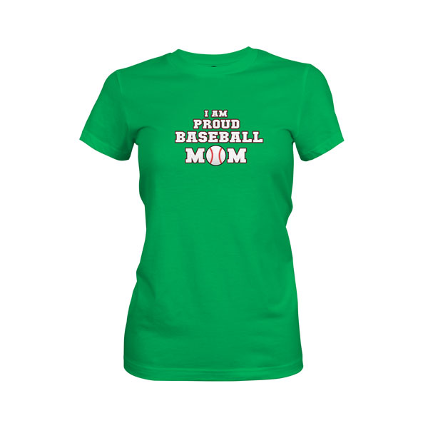 Proud Baseball Mom T Shirt Kelly Green