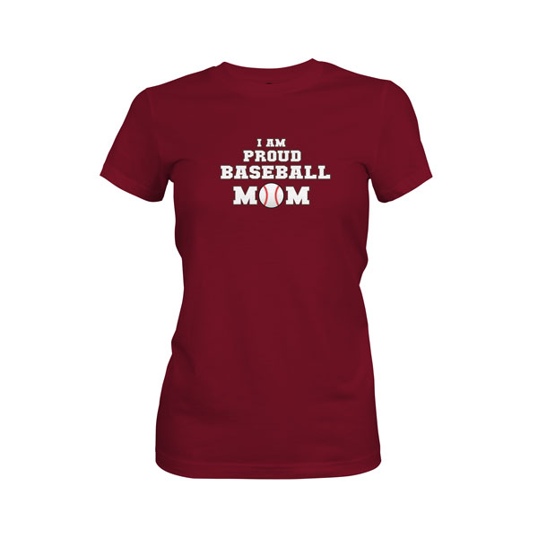 Proud Baseball Mom T Shirt Maroon