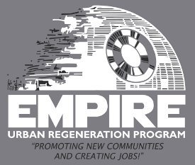 star wars empire urban regeneration program promoting new communities and creating jobs t shirt Death Star Urban Regeneration Program T Shirt