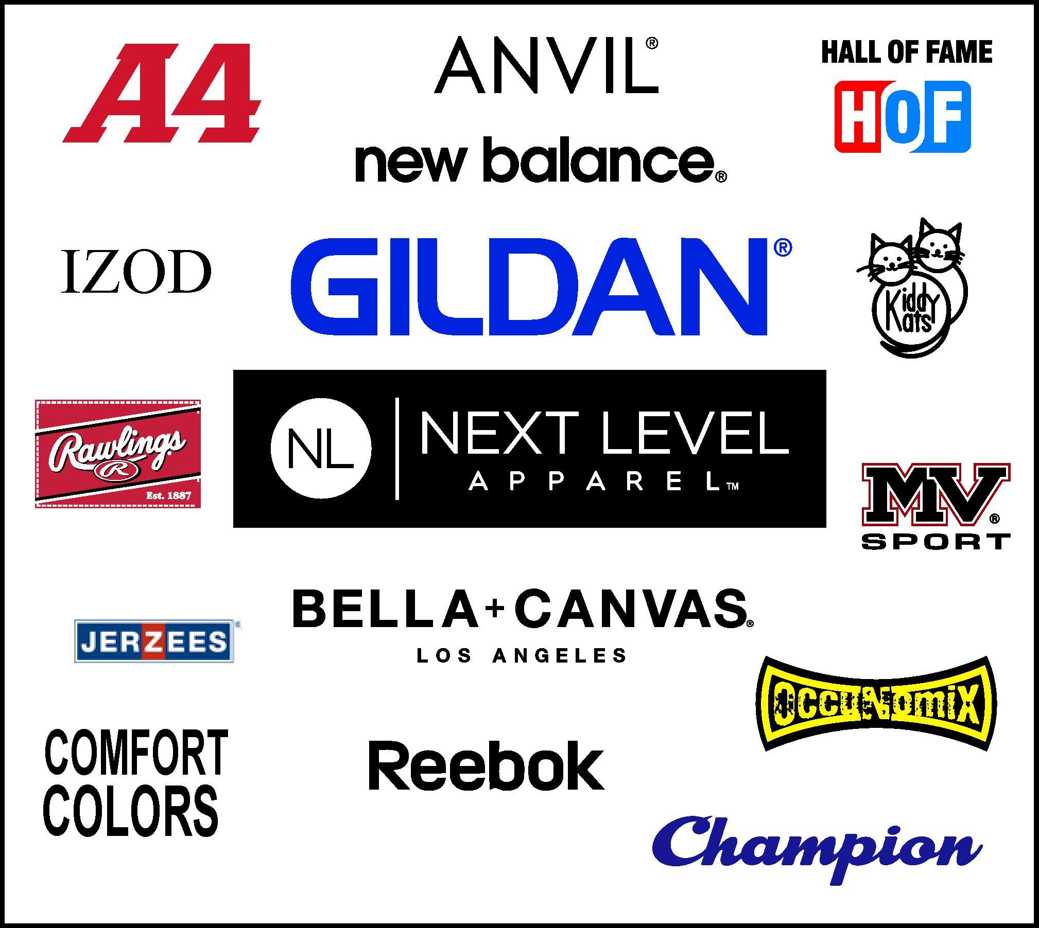 Gildan, Next Level, Columbia, Adidas Sport, Jerzee, J. America, Anvil, American Apparel, Rabit Skins & More