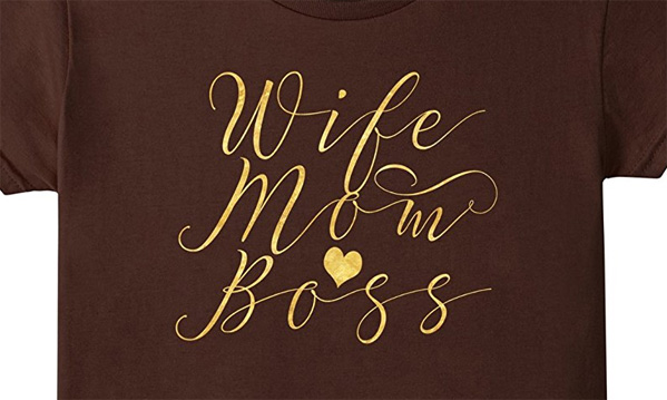 Wife Mom Boss T-Shirt. Casual Tee Shirt. Great gifts for Moms for her birthday or Mother's Day and any Occassions. In beautiful decorative, fancy, and elegant faux gold foil with swirls and a gold heart design decoration.  This design is also available on other colors. Click our brand name to see more.