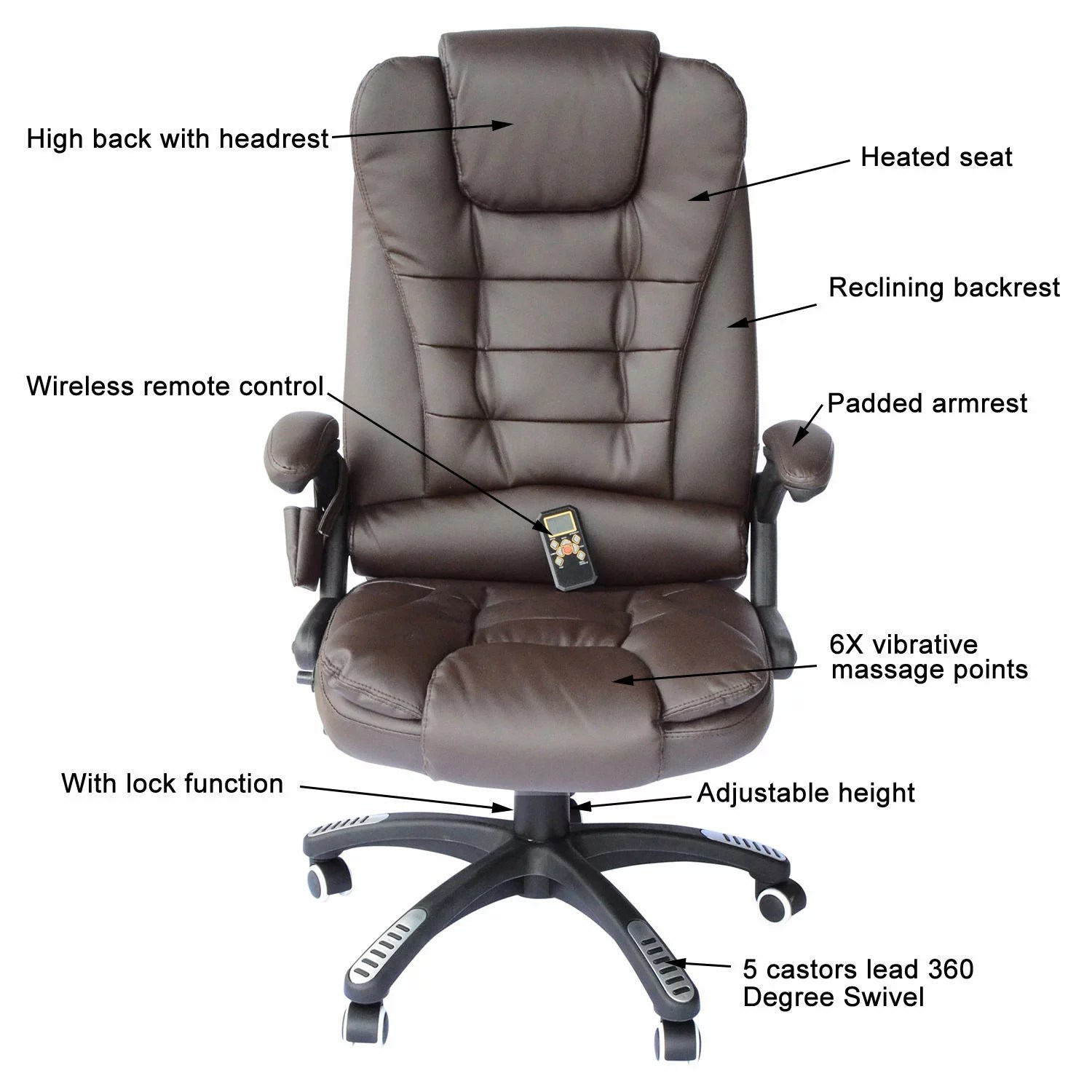 Massage Office Chair Homcom High Back Executive Ergonomic Pu Leather Heated Vibrating Massage Office Chair Brown