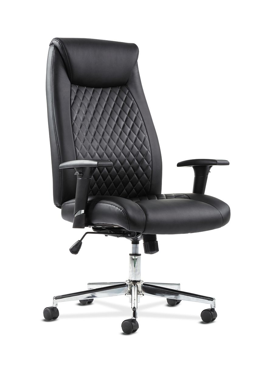 office chair with adjustable arms rocker gaming uk essentials sadie executive computer height for desk black leather