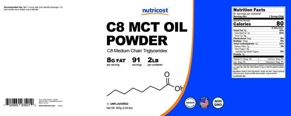 medium resolution of c8 mct oil powder non gmo gluten free made in u s a