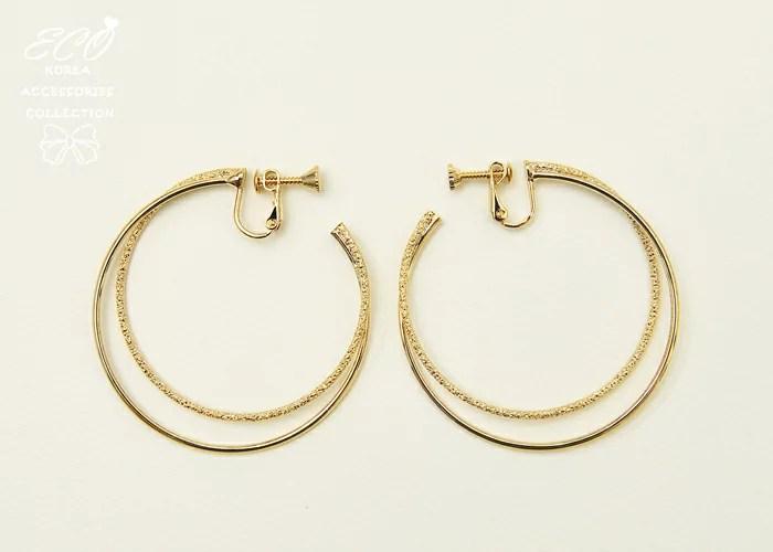 時尚大方雙大圈 夾式耳環(螺旋夾/2色)【2-1534】 eco安珂