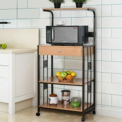Kitchen Microwave Cart Lowes Appliances Costway 59 Bakers Rack Stand Rolling Storage W Electric Outlet